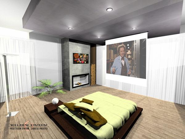 Camera (vista laterale) con TV  videoproiettore